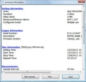 Summary Information Window