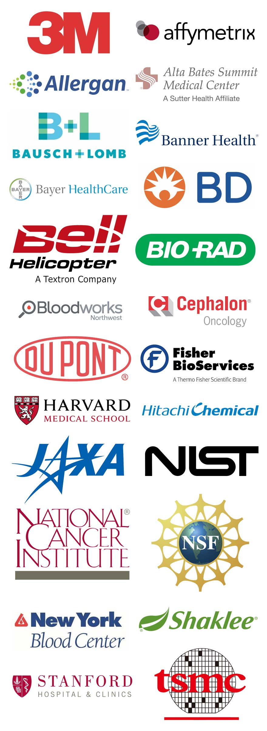 A few of our satisfied customers: 3M, AFFYMETRIX, Allergan, Alta Bates Summit Medical Center, Bausch & Lomb, Banner Health, Bayer HealthCare, BD, Bell Helicopter, Bio-Rad, Bloodworks, Cephalon, Fisher BioServices, Harvard Medical School, Hitachi Chemical, JAXA, National Cancer Institute, National Institute of Standards and Technology (NIST), National Institute of Health, New York Blood Center, Shaklee, Stanford Hospital & Clinics, TSMC.